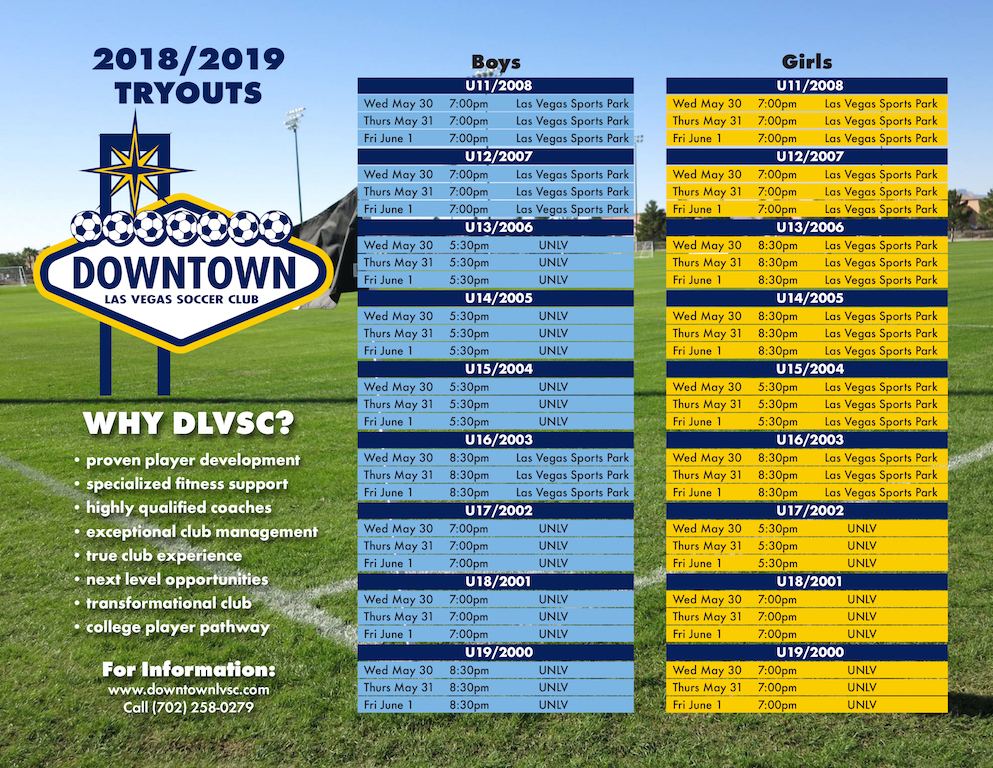 DLVSC TRYOUTS @  UNLV - Peter Johann Soccer Field & Las Vegas Sports Park  | Las Vegas | Nevada | United States